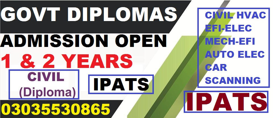 Professional and Technical Post Matric Diploma and Certficates Courses Offered by INSTITUTE OF PROFESSIONAL AND TECHNICAL STUDIES (IPATS) Rawalpindi and Fee structure 2020