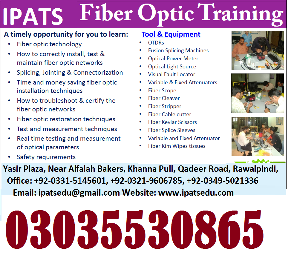 Fiber Optics Training (Professional) TELECOM TRAININGS - 2G, 3G, 4G Diplomas Certifications rawalpindi islamabad lahore quetta peshawar